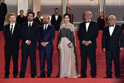 "Producer Alexandre Mallet-Guy, director Asghar Farhadi, actor Shahab Hosseini, actress Taraneh Alidoosti, actor Babak Karimi and actor Farid Sajjadihosseini attend ""The Salesman (Forushande)"" Premiere during the 69th annual Cannes Film Festival at the Palais des Festivals on May 21, 2016 in Cannes, France."