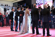 "Producer Alexandre Mallet-Guy, actor Shahab Hosseini, director Asghar Farhadi, actress Taraneh Alidoosti, actor Babak Karimi and actor Farid Sajjadihosseini attend ""The Salesman (Forushande)"" Premiere during the 69th annual Cannes Film Festival at the Palais des Festivals on May 21, 2016 in Cannes, France."