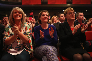 Sally Lindsay Labour Leader Ed Miliband Attends An Election Rally In Warrington