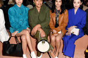 Hikari Mori, Paloma Elsesser, Camila Mendes and Olivia Sui attend the Salvatore Ferragamo show during during Milan Fashion Week Fall/Winter 2020/2021 on February 22, 2020 in Milan, Italy.