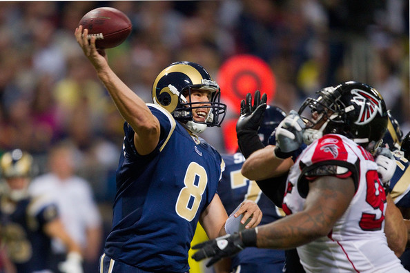 Sam Bradford Sam Bradford #8 of the St. Louis Rams passes against the Atlanta Falcons at the Edward Jones Dome on November 21, 2010 in St. Louis, Missouri.  The Falcons beat the Rams 34-17.