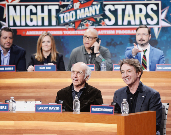 Night Of Too Many Stars Live Telethon 2015 [news conference,event,public event,news,world,jason jones,larry wilmore,martin short,samantha bee,larry david,john hodgman,night of too many stars live telethon,l-r,new york city,the night of too many start live telethon]