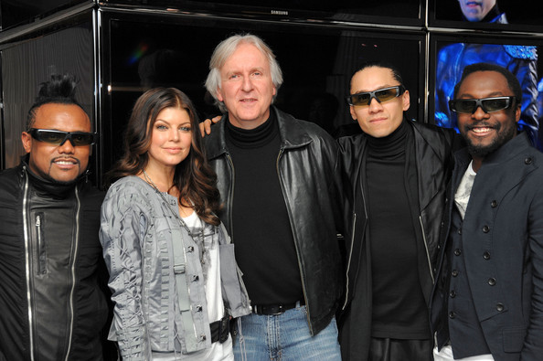 Director James Cameron (center) poses with Apl.de.Ap, Fergie, Taboo and Will.i.am of the Black Eyed Peas the Samsung 3D LED TV launch party with THE BLACK EYED PEAS at Time Warner Center on March 10, 2010 in New York City.