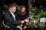 Actors Seth Gabel (L) and Bryce Dallas Howard celebrate the new Samsung Galaxy S6 edge+ and Galaxy Note5 at Launch Event on August 18, 2015 in Los Angeles, California.