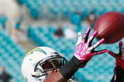 Vincent Brown #86 of the San Diego Chargers warms up before the game against the Jacksonville Jaguars at EverBank Field on October 20, 2013 in Jacksonville, Florida.