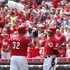 Jay Bruce Zack Cozart Photos - Jay Bruce #32 of the Cincinnati Reds is congratulated by teammate Zack Cozart #2 after his solo home run in the second inning against the San Diego Padres at Great American Ball Park on June 7, 2015 in Cincinnati, Ohio. - San Diego Padres v Cincinnati Reds