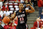 D.J. Gay #23 of the San Diego State Aztecs brings the ball up the court during a game against the UNLV Rebels at the Thomas & Mack Center February 12, 2011 in Las Vegas, Nevada. San Diego State won 63-57.