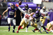 Dalvin Cook #33 of the Minnesota Vikings fumbles the ball in the second quarter of the game against the San Francisco 49ers at U.S. Bank Stadium on September 9, 2018 in Minneapolis, Minnesota.