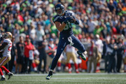Tight end Jimmy Graham #88 of the Seattle Seahawks makes a catch against the San Francisco 49ers at CenturyLink Field on September 25, 2016 in Seattle, Washington.