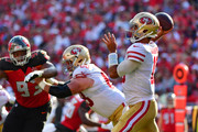 Jimmy Garoppolo #10 of the San Francisco 49ers drops back to throw a pass in the second quarter of a football game against the Tampa Bay Buccaneers at Raymond James Stadium on September 08, 2019 in Tampa, Florida.