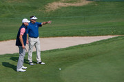 Steve Stricker (L) and (R) Brandt Jobe play on the 8th hole in the final round of the Sanford International at Minnehaha Country Club on September 23, 2018 in Sioux Falls, South Dakota.