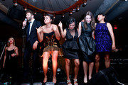 "(L-R) Actor Chris O'Dowd, actresses Jessica Mauboy, Miranda Tapsell, Shari Sebbens and Deborah Mailman attend ""The Sapphires"" after party during the 2012 Toronto International Film Festival at The Brandt House on September 9, 2012 in Toronto, Canada."