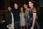 "(L-R) Deborah Mailman, Harvey Weinstein, Miranda Tapsell, Jessica Mauboy and Shari Sebbens attend ""The Sapphires"" screening at The Paris Theatre on March 13, 2013 in New York City."