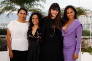 """(L-R) Actresses Deborah Mailman,  Miranda Tapsell, Shari Sebbens and Jessica Mauboy attend the """"The Sapphires"""" Photocall during the 65th Annual Cannes Film Festival at Palais des Festivals on May 20, 2012 in Cannes, France."""