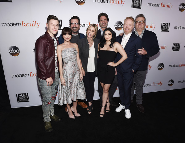 FYC Event For ABC's 'Modern Family' - Arrivals [modern family,event,premiere,fashion,red carpet,carpet,eyewear,fashion design,award,flooring,dress,steven levitan,arrivals,actors,actors,nolan gould,l-r,abc,fyc,event]