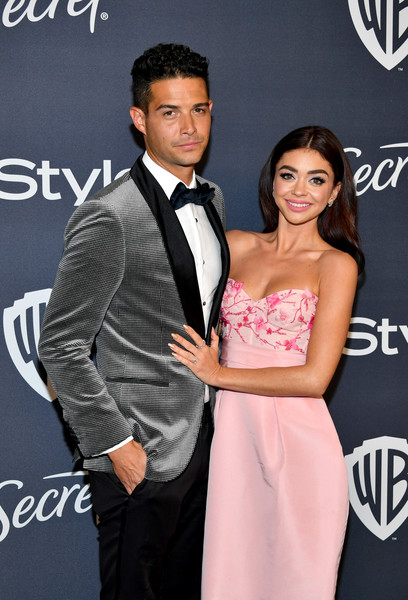 21st Annual Warner Bros. And InStyle Golden Globe After Party - Arrivals [suit,formal wear,event,dress,premiere,tuxedo,carpet,fashion accessory,tie,flooring,sarah hyland,wells adams,l-r,the beverly hilton hotel,california,beverly hills,warner bros,instyle golden globe,instyle golden globe after party,arrivals,sarah hyland,wells adams,modern family,celebrity,golden globe awards,party,party 01,instyle,warner bros.]