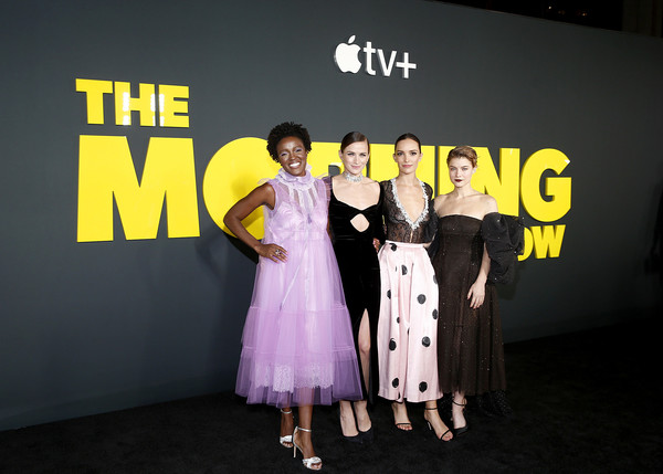 "Apple's ""The Morning Show"" Global Premiere [the morning show,yellow,fashion,event,premiere,design,font,flooring,carpet,dress,brand,shantel vansanten,krys marshall,jodi balfour,tv,l-r,josie robertson plaza,apple,global premiere,premiere]"