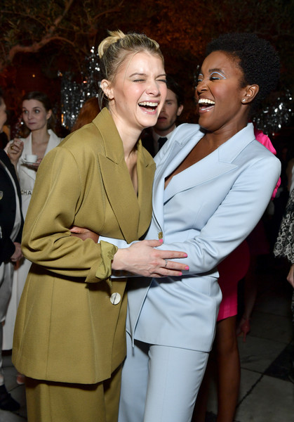 Vanity Fair And Lancôme Toast Women In Hollywood In Los Angeles [fashion,suit,event,lady,yellow,formal wear,fashion design,outerwear,smile,dress,krys marshall,sarah jones,toast women in hollywood,lanc\u00e3,l-r,los angeles,lanc\u00f4me toast women in hollywood,california,vanity fair,hollywood,west hollywood,vanity fair,beauty,photograph,celebrity,livingly media,image]