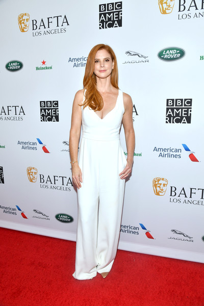 BAFTA Los Angeles And BBC America TV Tea Party 2019 – Arrivals [red carpet,clothing,carpet,dress,flooring,premiere,fashion,shoulder,waist,fashion design,arrivals,sarah rafferty,tea party,los angeles,beverly hills,california,the beverly hilton hotel,bafta,bbc,america tv]