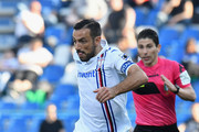 Fabio Quagliarella of UC Sampdoria in action during the Serie A match between US Sassuolo and UC Sampdoria at Mapei Stadium - Citta' del Tricolore on March 16, 2019 in Reggio nell'Emilia, Italy.