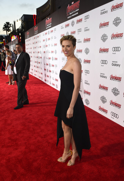 Audi Arrivals at The World Premiere of 'Avengers: Age Of Ultron' [avengers: age of ultron,red carpet,carpet,clothing,red,premiere,flooring,dress,fashion,shoulder,event,audi arrivals,scarlett johansson,dolby theatre,california,hollywood,the world premiere]