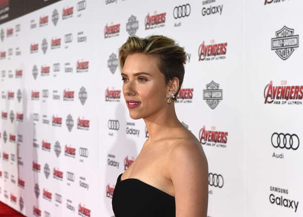 Audi Arrivals at The World Premiere of 'Avengers: Age Of Ultron' [avengers: age of ultron,hair,hairstyle,shoulder,eyebrow,beauty,chin,red carpet,premiere,eyelash,lip,audi arrivals,scarlett johansson,dolby theatre,california,hollywood,the world premiere]