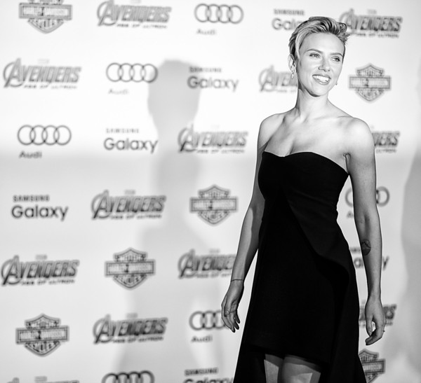 Premiere Of Marvel's 'Avengers: Age Of Ultron' - Arrivals [avengers: age of ultron,image,dress,clothing,shoulder,black-and-white,little black dress,cocktail dress,fashion,fashion model,joint,waist,scarlett johansson,arrivals,dolby theatre,california,hollywood,marvel,premiere,premiere]