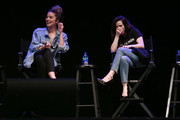 """Actors Annie Murphy (L) and Emily Hampshire (R) attend the """"Schitt's Creek"""" - Up Close & Personal event at The Wiltern on May 25, 2019 in Los Angeles, California."""