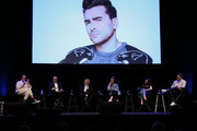 "(L-R) Actors Dan Levy, Eugene Levy, Catherine O'Hara, Annie Murphy, Emily Hampshire and Noah Reid attend the ""Schitt's Creek"" - Up Close & Personal event at The Wiltern on May 25, 2019 in Los Angeles, California."