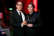 Filmmaker David O. Russell (L) and honoree Megan Ellison attend the Screen Actors Guild Foundation 30th Anniversary Celebration at Wallis Annenberg Center for the Performing Arts on November 5, 2015 in Beverly Hills, California.