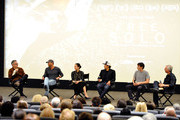 """(L-R) Composer Marco Beltrami, Tim McGraw, director and producer Elizabeth Chai Vasarhelyi, director, producer, and cinematographer Jimmy Chin, featured climber Alex Honnold, and Scott Mantz attend the screening of """"Free Solo"""" hosted by Tim McGraw at SilverScreen Theater at the Pacific Design Center on November 11, 2018 in West Hollywood, California."""