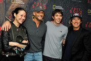 """(L-R) Director and producer Elizabeth Chai Vasarhelyi, Tim McGraw, featured climber Alex Honnold, and director, producer, and cinematographer Jimmy Chin attend the screening of """"Free Solo"""" hosted by Tim McGraw at SilverScreen Theater at the Pacific Design Center on November 11, 2018 in West Hollywood, California."""