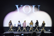 "Kristen Baldwin, Penn Badgley, Elizabeth Lail, Shay Mitchell, Sera Gamble, and Caroline Kepnes attend the Screening Of Lifetime's ""You"" Series Premiere on September 5, 2018 in New York City."