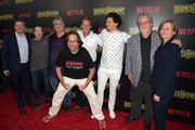 """(L-R) Netflix CEO Ted Sarandos, Billy West, Maurice LaMarche, David Herman, Nat Faxon, Eric Andre, Matt Groening and Netflix Vice President of Original Series Cindy Holland attend the screening of Netflix's """"Disenchantment"""" at the Vista Theatre on August 14, 2018 in Los Angeles, California."""