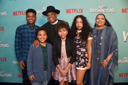 """Nathan Anderson, Maceo Smedley, Rev Run, Leah Rose Randall, Kiana Lede' and Justine Simmons attend a screening of Netflix's """"All About The Washingtons"""" at Madera Kitchen & Bar on August 8, 2018 in Hollywood, California."""