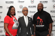 "(L-R) Sybrina Fulton, Al Sharpton and Tracy Martin attend the Screening And Panel For ""Rest In Power: The Trayvon Martin Story"" at The Apollo Theater on July 29, 2018 in New York City."