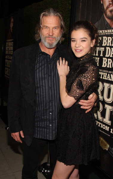 Actors Jeff Bridges and Hailee Steinfeld arrive at the screening of Paramount Pictures' 'True Grit' at the Academy of Motion Picture Arts and Sciences on December 9, 2010 in Beverly Hills, California.