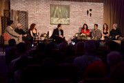 """(L-R) Executive producer Roman Coppola, actors Malcolm McDowell, Bernadette Peters, moderator Tom O'Neil, actors Lola Kirke, Gael Garcia Bernal, Saffron Burrows and executive producer Paul Weitz speak onstage during the Screening and Q&A for Amazon's """"Mozart In The Jungle"""" at Hollywood Roosevelt Hotel on April 21, 2016 in Hollywood, California."""