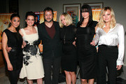 """(L-R) Actresses Emmanuelle Chriqui and Carla Gugino, director Sebastian Gutierrez and actresses Marley Shelton, Adrianne Palicki and Malin Akerman attend a screening of Samuel Goldwyn Films' """"Elektra Luxx"""" at the Charles Aidikoff Screening Room on March 4, 2011 in Beverly Hills, California."""