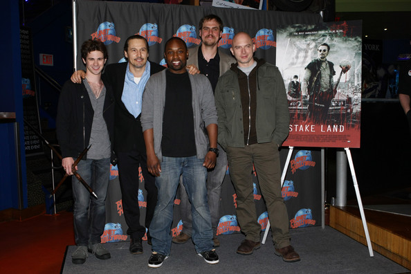 """""""Stake Land"""" Cast Visits Planet Hollywood Times Square [social group,event,youth,fashion,performance,team,leisure,games,jim mickle,michael cerveris,actors,connor paolo,nick damici,sean nelson,l-r,planet hollywood times square,new york city,stake land cast visits planet hollywood times square]"""