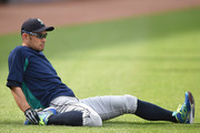 Ichiro Suzuki #51 of the Seattle Mariners warms up before a baseball game against the Seattle Mariners at Oriole Park at Camden Yards on June 25, 2018 in Baltimore, Maryland.
