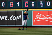 Ichiro Suzuki #51 of the Seattle Mariners takes fly balls prior to a game against the Los Angeles Angels of Anaheim  at Angel Stadium on July 11, 2018 in Anaheim, California.