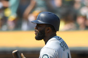 Denard Span #4 of the Seattle Mariners reacts after he was called out on strike against the Oakland Athletics in the top of the six inning at Oakland Alameda Coliseum on September 2, 2018 in Oakland, California.