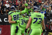 Tight end Jimmy Graham #88 of the Seattle Seahawks celebrates a two yard touchdown against the Arizona Cardinals in the second half of the NFL game at University of Phoenix Stadium on November 9, 2017 in Glendale, Arizona.