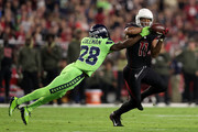 Wide receiver Larry Fitzgerald #11 of the Arizona Cardinals is unable to make the catch against cornerback Justin Coleman #28 of the Seattle Seahawks in the first half at University of Phoenix Stadium on November 9, 2017 in Glendale, Arizona.