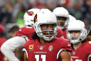 Wide receiver Larry Fitzgerald #11 of the Arizona Cardinals warms up before the game against the Seattle Seahawks at State Farm Stadium on September 30, 2018 in Glendale, Arizona.