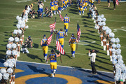 Los Angeles Rams take the field ahead of the game against the Seattle Seahawks at Los Angeles Memorial Coliseum on November 11, 2018 in Los Angeles, California.