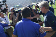 Head coach Pete Carroll of the Seattle Seahawks greets head coach Jeff Fisher of the Los Angeles Rams after the home opening NFL game at Los Angeles Coliseum on September 18, 2016 in Los Angeles, California.  The Los Angeles Rams defeated the Seattle Seahawks 9-3.