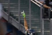 Rondey Smith #86 of the Seattle Seahawks celebrates after scoring a touchdown against the Oakland Raiders during the first quarter of their game at the Oakland-Alameda County Coliseum on August 31, 2017 in Oakland, California.