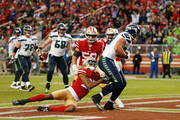 Jimmy Graham #88 of the Seattle Seahawks scores a touchdown against Ahkello Witherspoon #23 of the San Francisco 49ers at Levi's Stadium on November 26, 2017 in Santa Clara, California.
